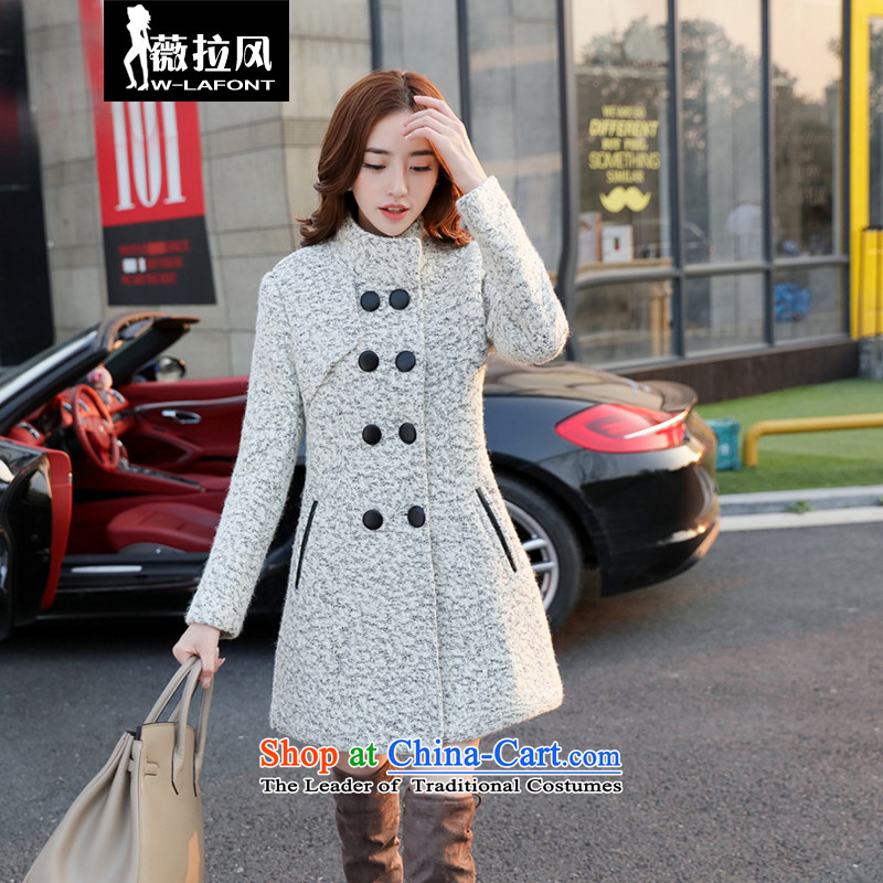 Vera wind 2015 autumn and winter new Korean girl who decorated stylish long coats that we Gross Gross flows of Women's jacket? White?L
