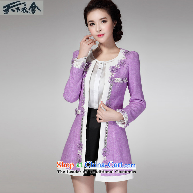 The World 2015 autumn and winter clothing warehouse coat girl in gross? long staples PEARL FLOWER reinsert temperament Sau San a wool coat female purple燲L