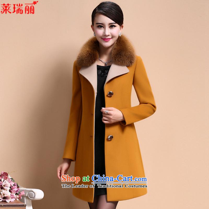 Gloria Ruili� 2015 winter clothing in new long hair?� 8066 female jacket coat爕ellow燲XL