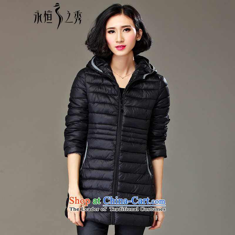 2015 MM to thick xl girl in autumn and winter jackets long new 200 catties thick cotton clothing sister new black (pre-sale 10 day shipping 3XL)