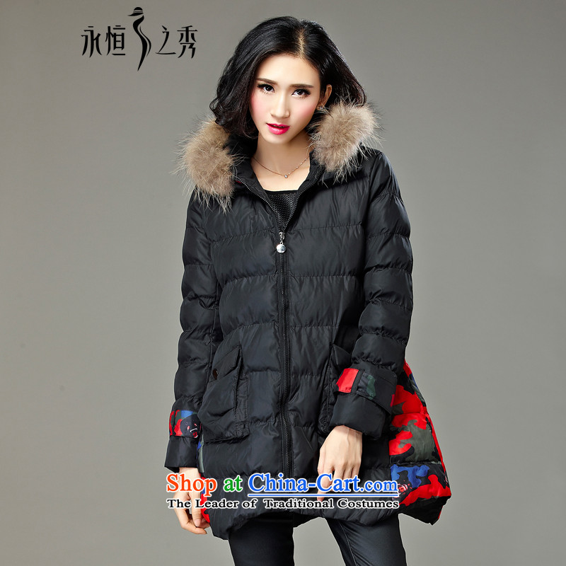 2015 MM to thick xl girl in autumn and winter jackets long new 200 catties thick cotton clothing sister new black 4XL