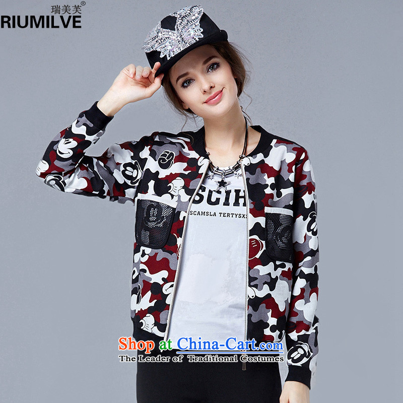 Rui Mei to 2015 to increase the number of women in autumn and winter new thick mm loose video thin jacket jacket western camouflage uniforms N1062 stamp baseball picture color 3XL