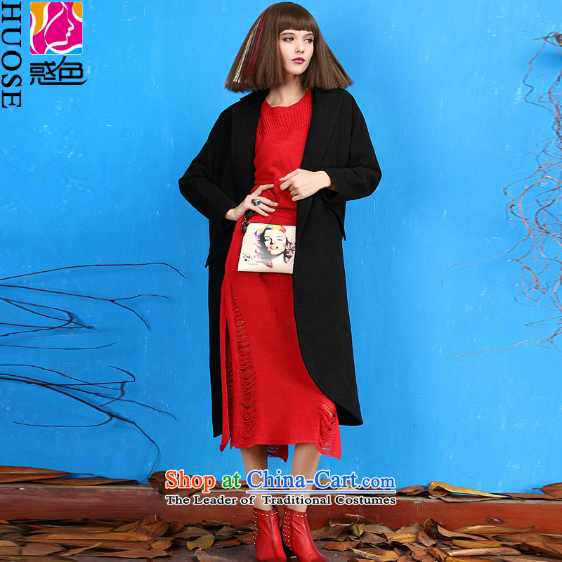 Sexy And Dangerous color for autumn and winter 2015 new products in black long overcoat with thin hair? coats video? children blackL