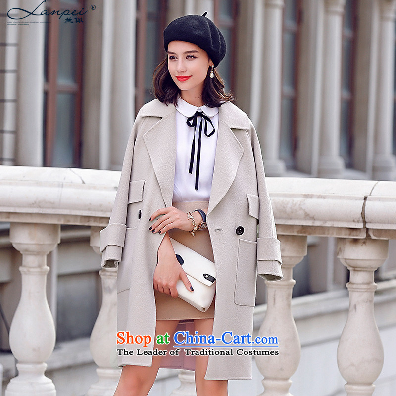 Estimated 2015 Autumn Load New Pei high reverse collar-sided flannel Ms. woolen coat in the medium to long term gross beige jacket? M