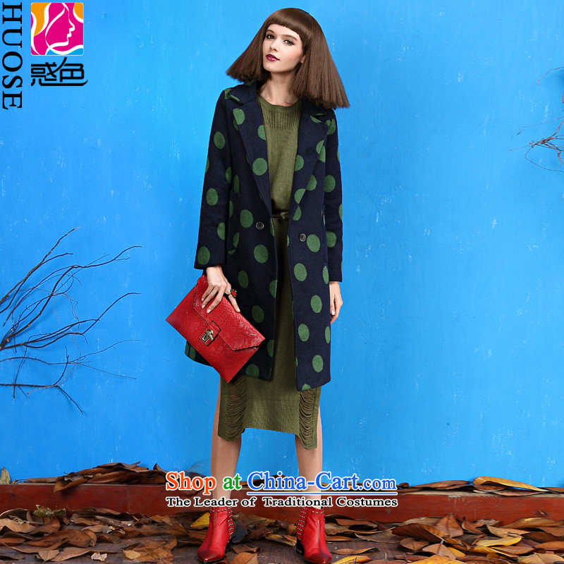 Clarification of the Winter 2015 new color wave in long double-coats female jacket gross? Deep Blue M