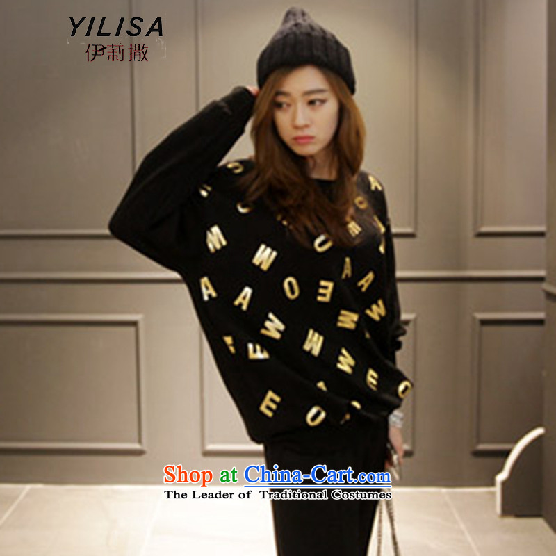 Elizabeth sub-new to xl female autumn and winter T-shirts thick MM 200 won jin letters stamp forming the liberal sweater shirt H5215 T-shirt black聽4XL