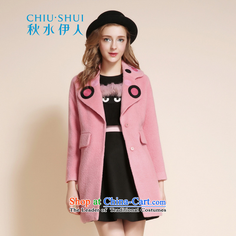 Chaplain who 2015 winter clothing new women's stylish Sweet temperament and reverse collar wool coat jacket peach155_80A_S?