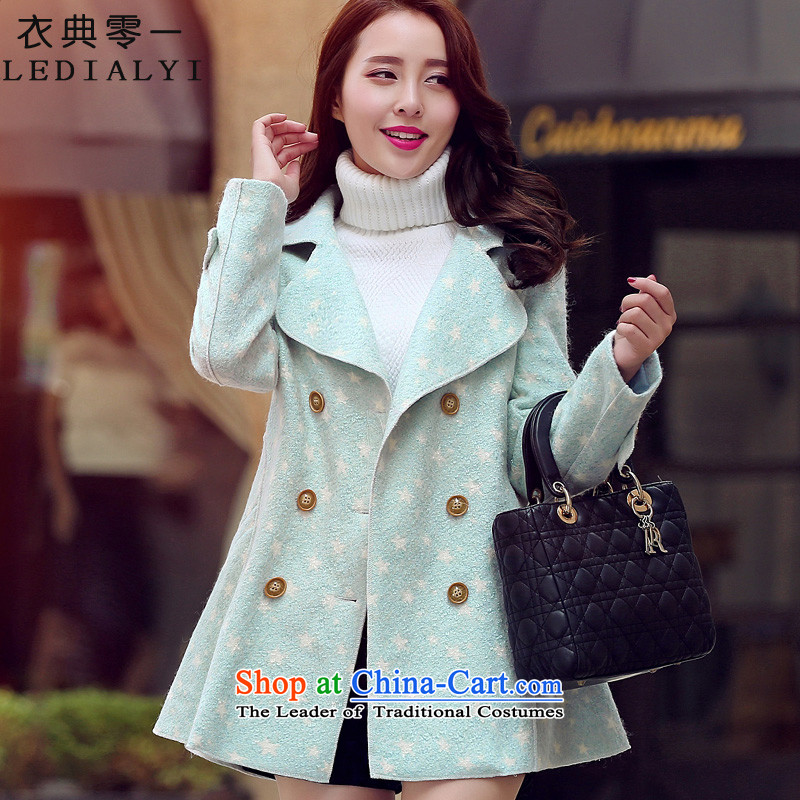 Yi code 12.01 2015 Fall/Winter Collections for women won the new version of the long loose cloak stylish Sweet graphics thin double-sided??? sub-coats gross jacket light blue XL