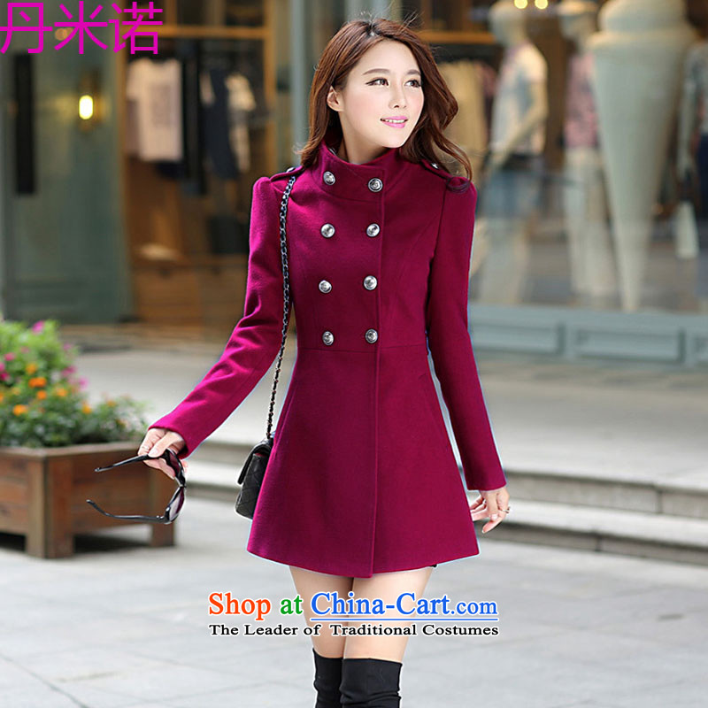 Dan M The 2015 autumn and winter new women's gross jacket Korean?   in large thin graphics long coats gross? 70 17 wine redL
