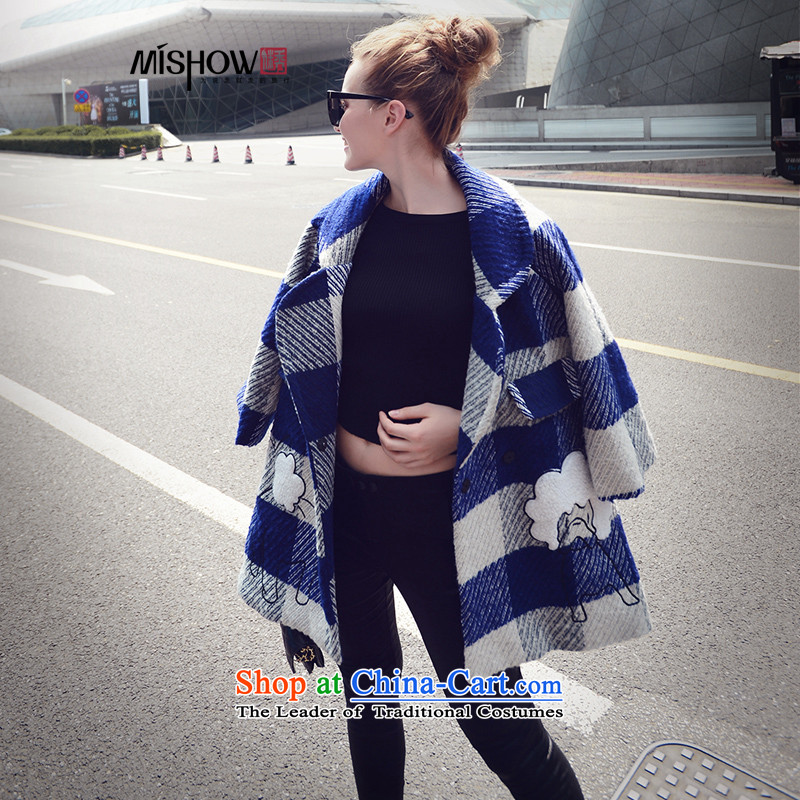Use the爊ew 2015-Soo Choo boxed version korea long hair? large jacket coat female?   Blue燣