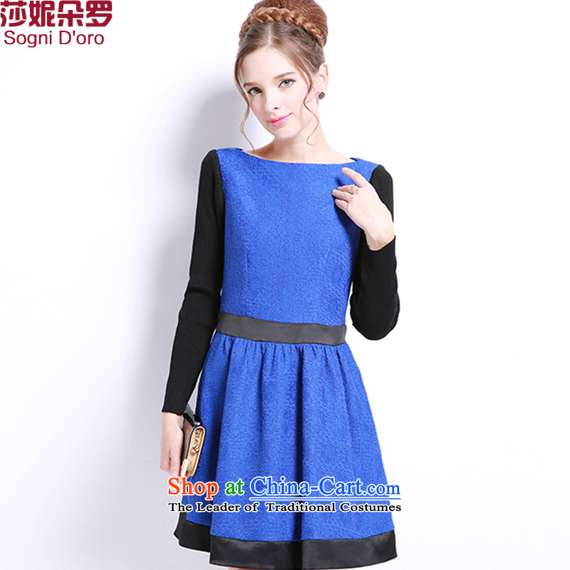 Shani Flower Lo 200 catties larger female thick mm new long-sleeved) Choo video thin, thick sister dresses 8041 6XL blue