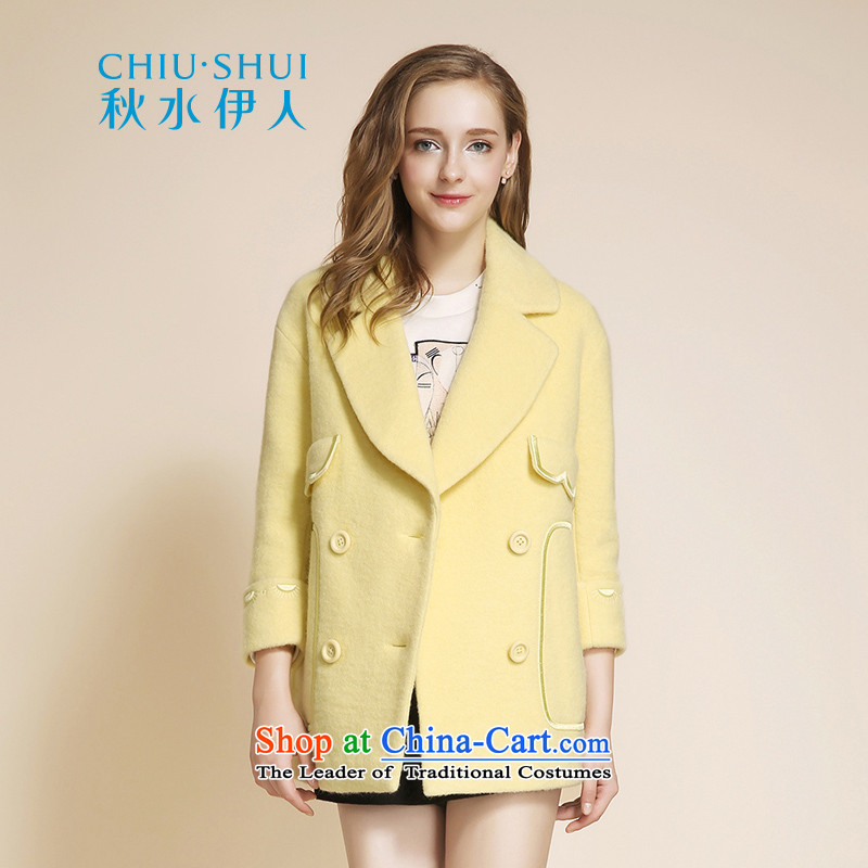 Chaplain who 2015 winter clothing new women's largest lapel embroidery minimalist Solid Color, Double-buff jacket coat gross�5_80A_S?