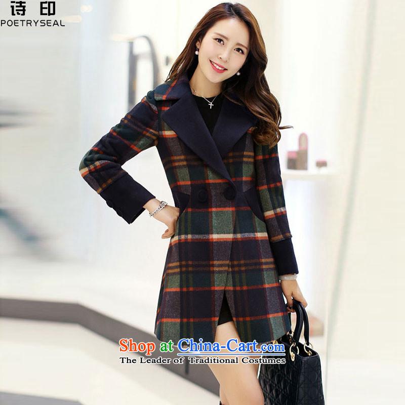 Poetry printed a wool coat women 2015 new stylish Sau San Mao jacket female espresso?燲L