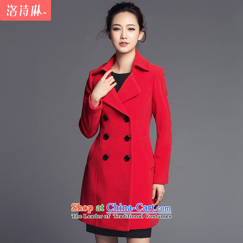 The poem Lin 2015 LUXLEAD winter clothing in new long-sleeved long Foutune of gross? large red cloak燲L