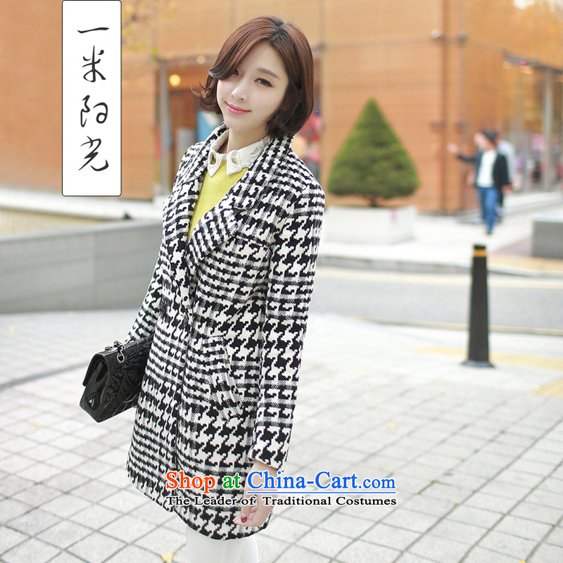One meter Sunshine 2015 Fall/Winter Collections new gross jacket female Korean version of this medium to long term, Chidori grid? female black and white coats of $ L