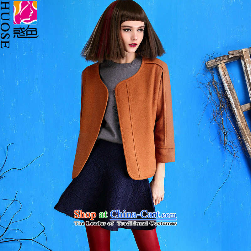 Original design and color woolen coat 2015 autumn and winter? New Korean short-clip loose coat a wool coat female Brown?M