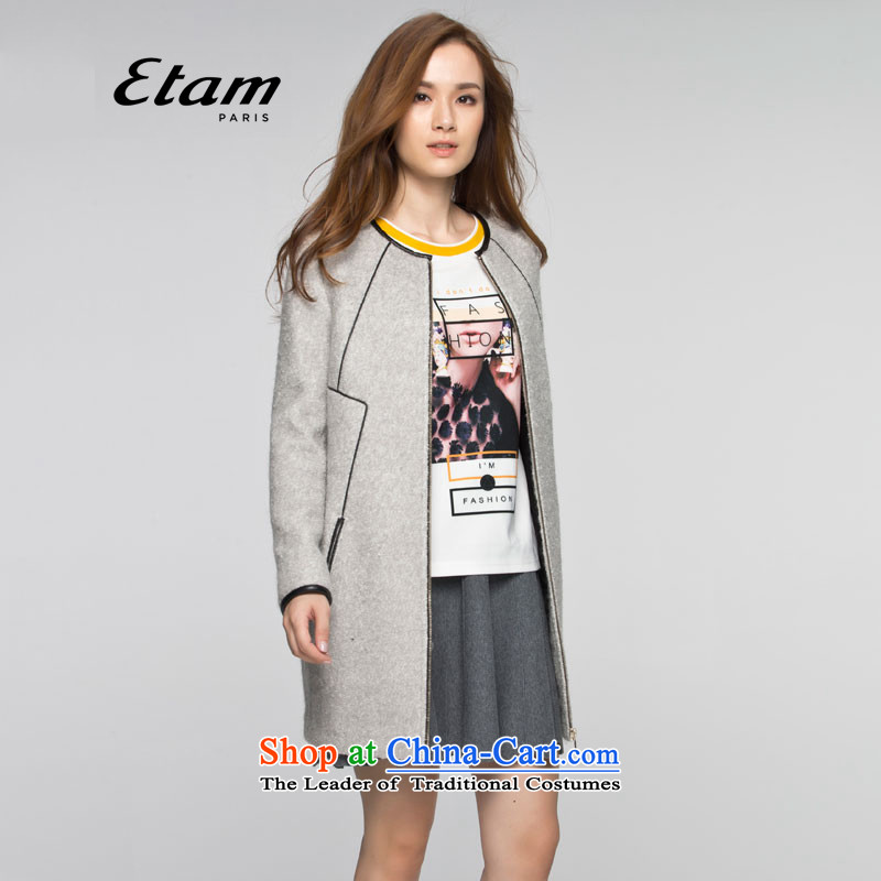 The new 2015 ETAM A round-neck collar side of the gross premium cable 15013406661 coat? 999 gray 40L