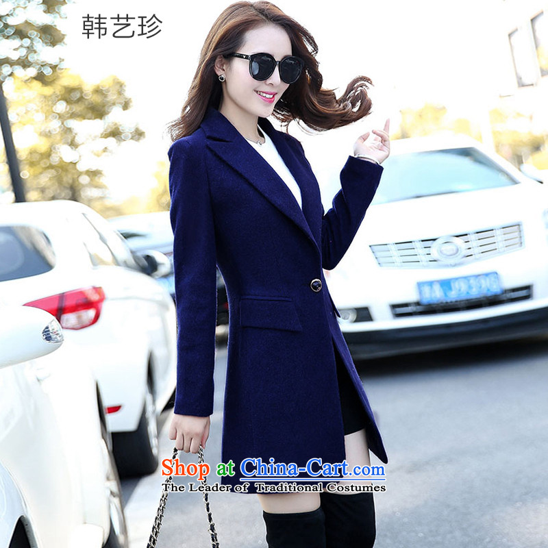 Korea Yae Jin 2015 autumn and winter new gross girls jacket? Long roll collar thick wool a wool coat video thin navy L
