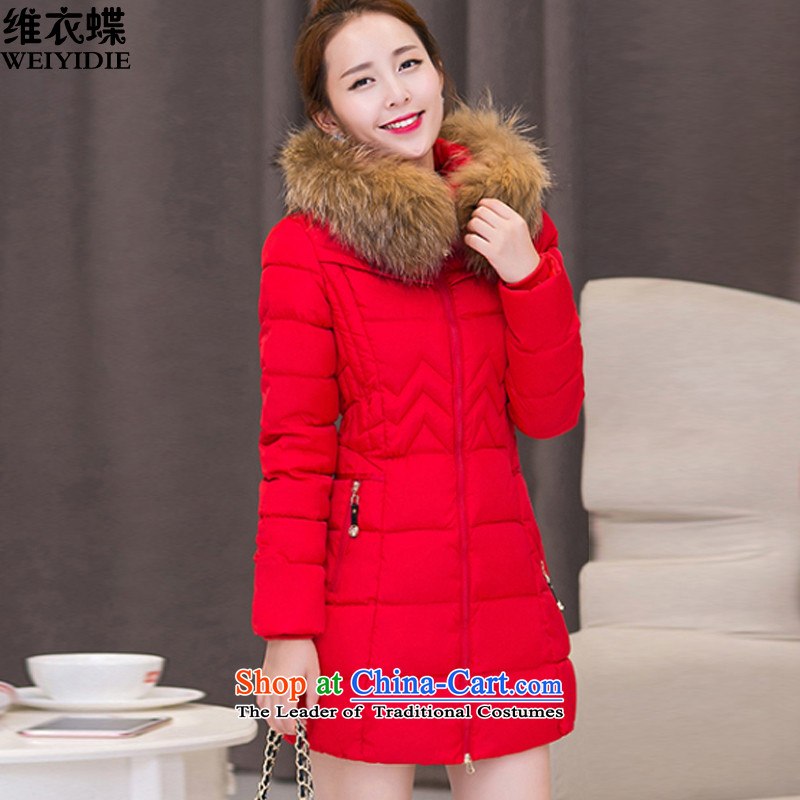 D Yi Butterfly 2015 autumn and winter new Korean gross collar cap in Sau San long cotton coat larger women 1067 Red XL
