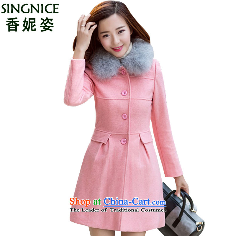 The Champs Elysees Beauty 2015 Winter Connie new coats, wool? Long Korean Sau San a thin coat graphics 9164 EP pinkM code