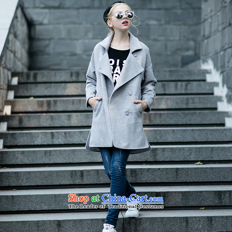 Qigirl temperament wild gray coat?�70燣ight Gray燤