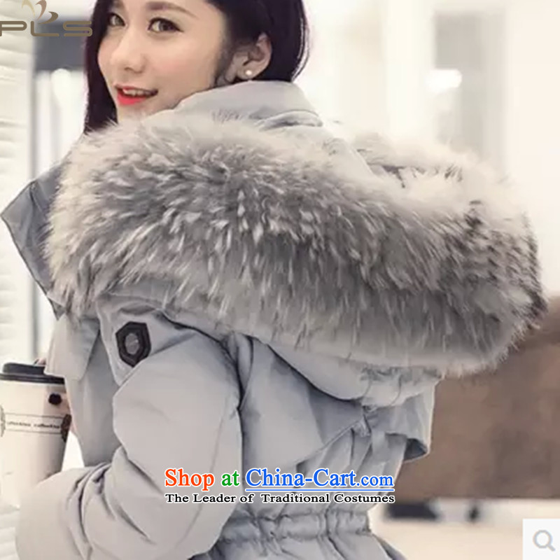 To increase the number down long campaign in sub maoulen cap reinforcement warm and stylish white duck down small fresh glue MM winter wind Winter Reduction aging 5X Female blue clothes blue collar5XL recommendations 180-195 gross catty