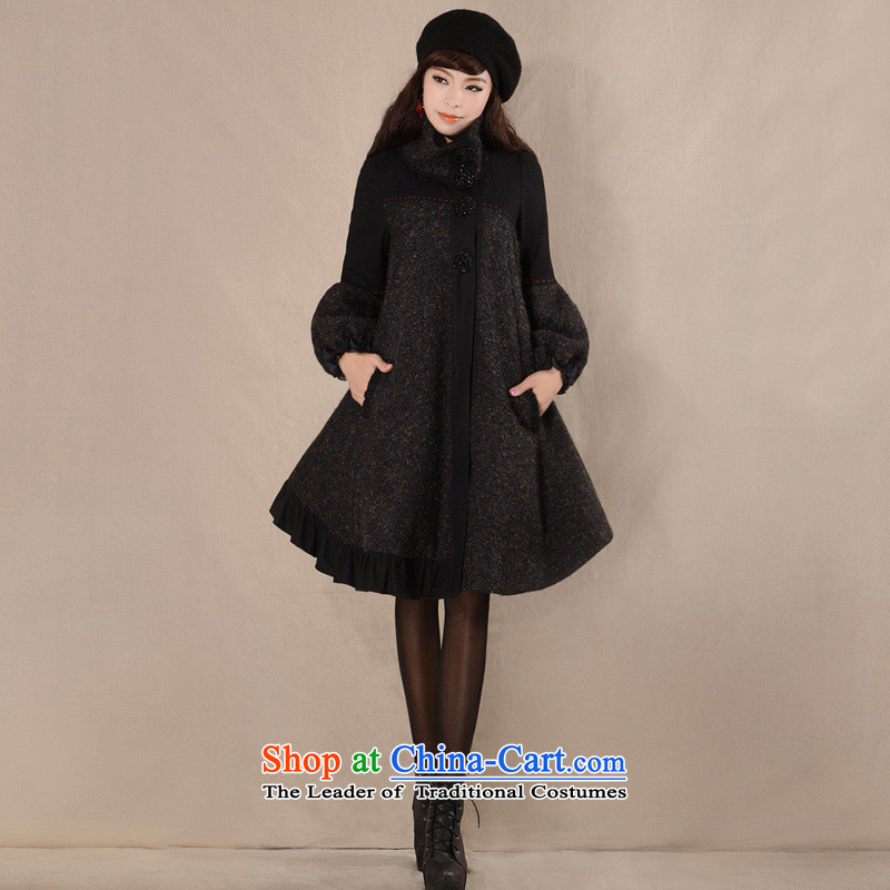 Fireworks ironing 2015 Autumn new original temperament female loose larger gross overcoats duckers here? heart black燣 spot