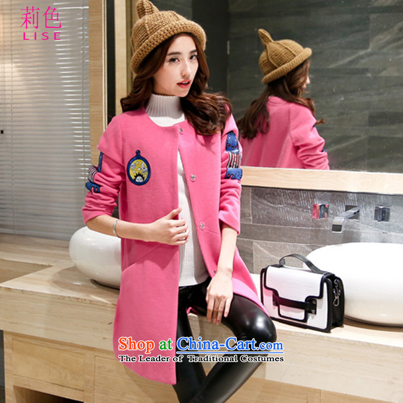 Li Color 2015 autumn and winter in new long hair? female casual jacket coat wild picture pinkXL