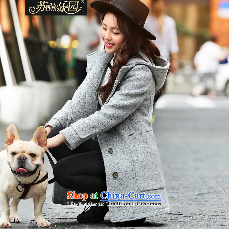 Park woke up to 2015 winter clothing new Korean women's Fashion Cap solid color jacket coat? long-sleeved gray female L