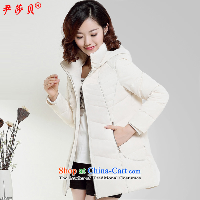 Yoon Elizabeth Odio Benito to increase women's code 2015 autumn and winter new Korean version in the thin Long Hoodie stamp down�L white coats