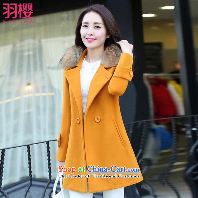 Yu Ying 2015 autumn and winter new women's Korea version of large numbers in length of Sau San for?? jacket coat gross female YH150 Yellow M
