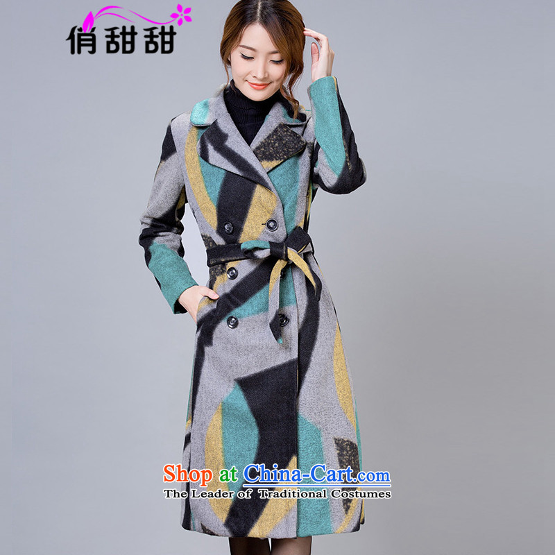 For the聽2015 autumn and winter and sweet new gross girls jacket? long large female double-colored grid a wool coat聽XXXL color picture