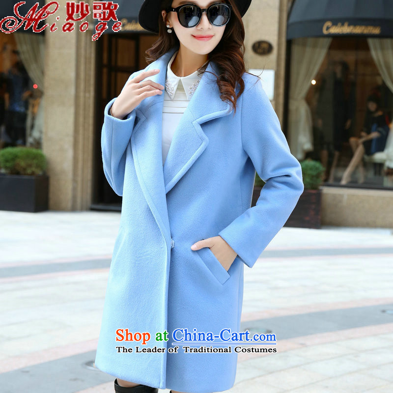Mya Song (miaoge) 2015 autumn and winter trendy new gross girls jacket? long thick coat MG9852 sheep-blue M