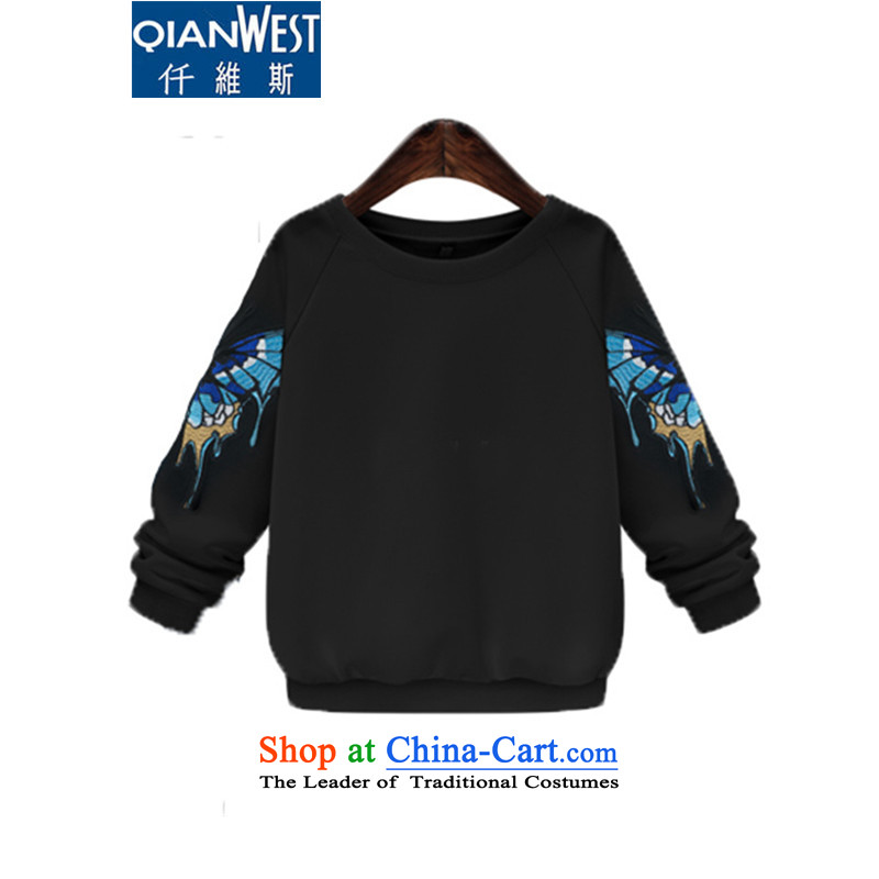 The Scarlet Letter, larger women in theautumn of 2015 on David Yi New European and American Women's larger 200 catties thick sister embroidery video thin sweater 364 BlackXLrecommended weight 100-120 catty