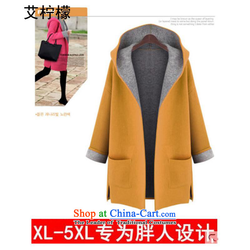 The Lemon 2015 autumn and winter of the new Europe and stylish Cardigan Jacket Color large code relaxd candy video thin cardigan western thick mm gross? Wind Jacket XXXXL. Large Yellow