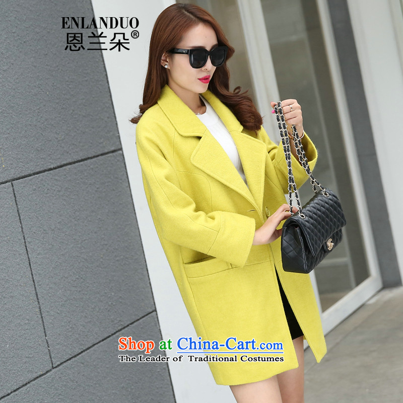 Eun Ho flower�15 autumn and winter new Korean minimalist small incense wind hair beauty? Long girls jacket a wool coat long-sleeved yellow燤