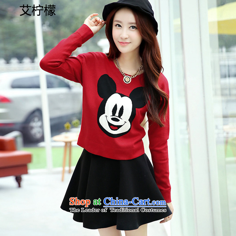 Hiv lemon autumn and winter 2015 on new larger dresses Korean version of Fat MM to increase women's code thick sister video thin long-sleeved T-shirt and stylish package skirt red black skirt larger XXXL.