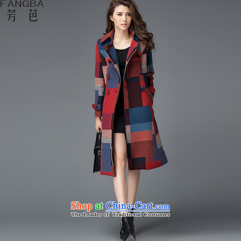 �15 Autumn and winter chemicals and new Korean female coats of Sau San Mao? In long coats gross? jacket compartments girl? A30 Female red blue coat knocked color燲L