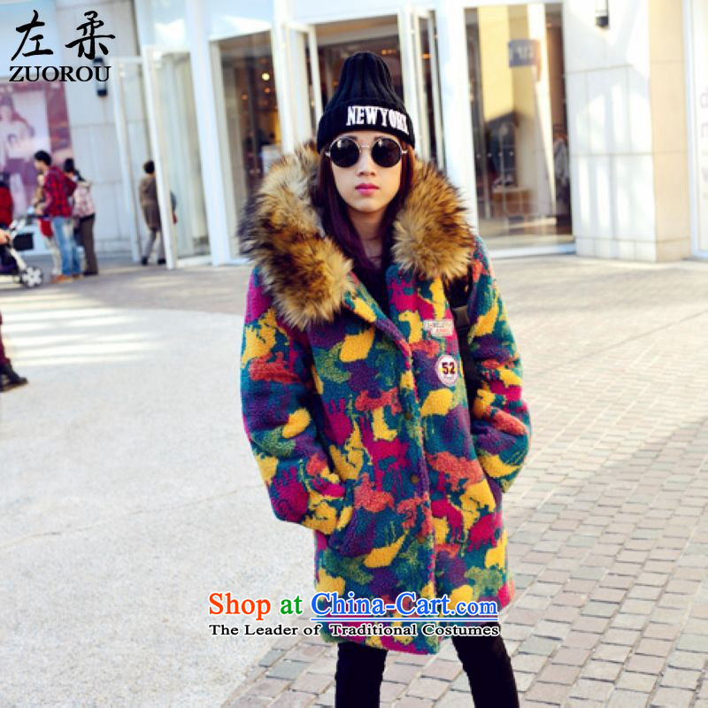 Left softKorean winter 2015_ to increase the number of women with thick mm thin large relaxd graphics camouflage jacket coat 200 catties good through primaryXXXXXL figure