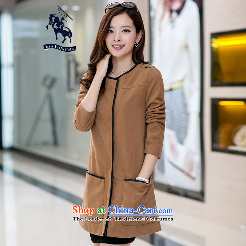 Kinvillapolo2015 autumn and winter new gross girls jacket? Long Large thick mm200 catty thick a wool coat round-neck collar and color聽4XL