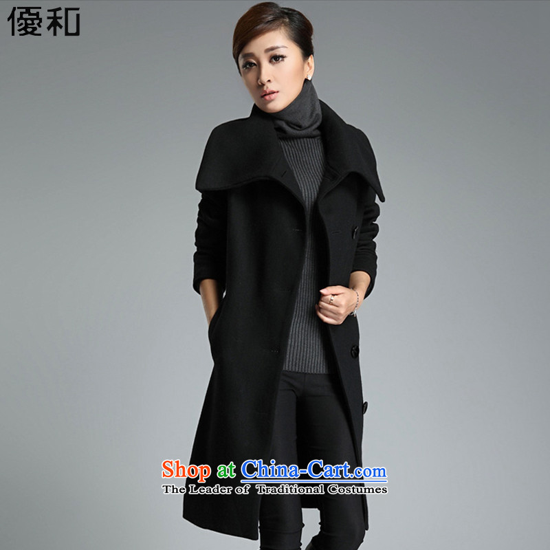 Optimize and 2015 Fall_Winter Collections thick gross female long-sleeved jacket? wool coat female MN008? black  L