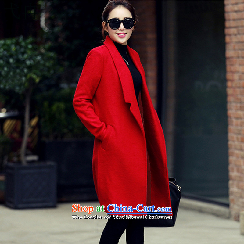 Cruise in the autumn of 2015, more new for women Korean citizenry thick hair long coats jacket N467? red燲XL