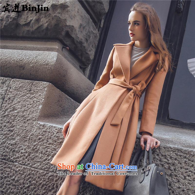 The2015 autumn and winter robin load new women's woolen coat female hair? jacket coat girl in long occidental gross? non-cashmere overcoat female coats female khakiM