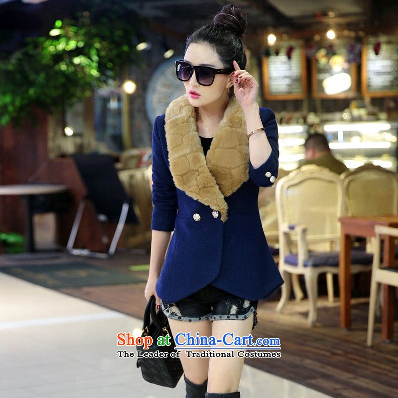 Antarctic people wool coat women 2015? Fall_Winter Collections new graphics thin short of the amount for the gross? jacket female thick a wool coat blue?L