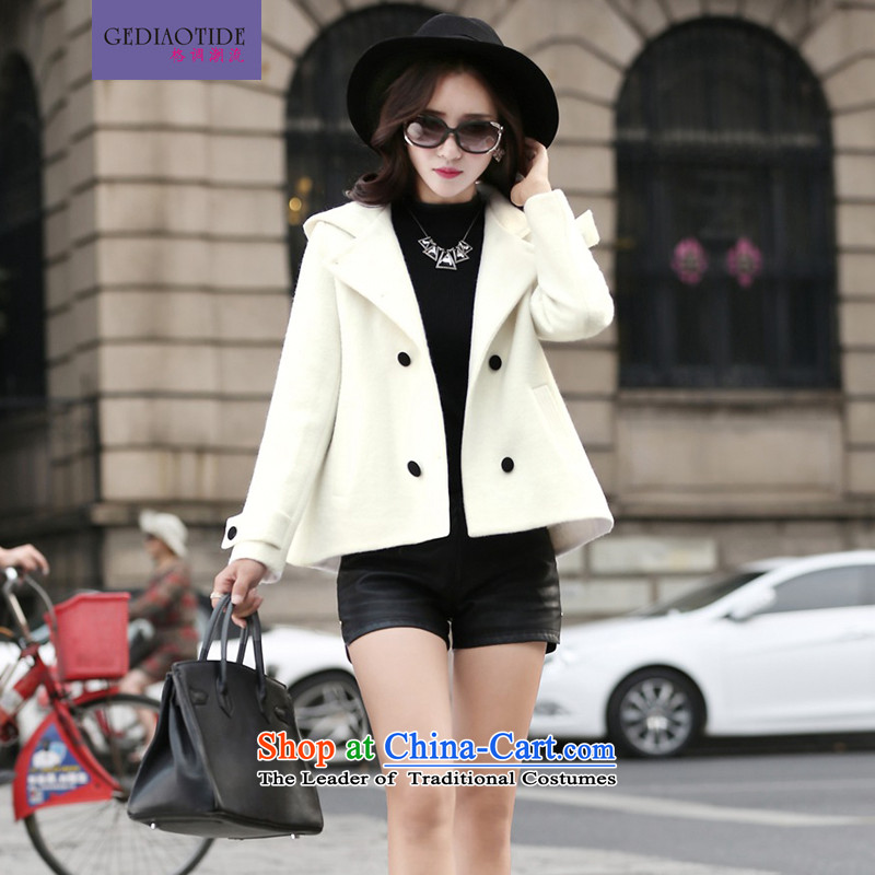 2015 Autumn and winter new stylish Korean Ladies casual wild pure color minimalist double-cap reverse collar short jacket, gross female m White M?