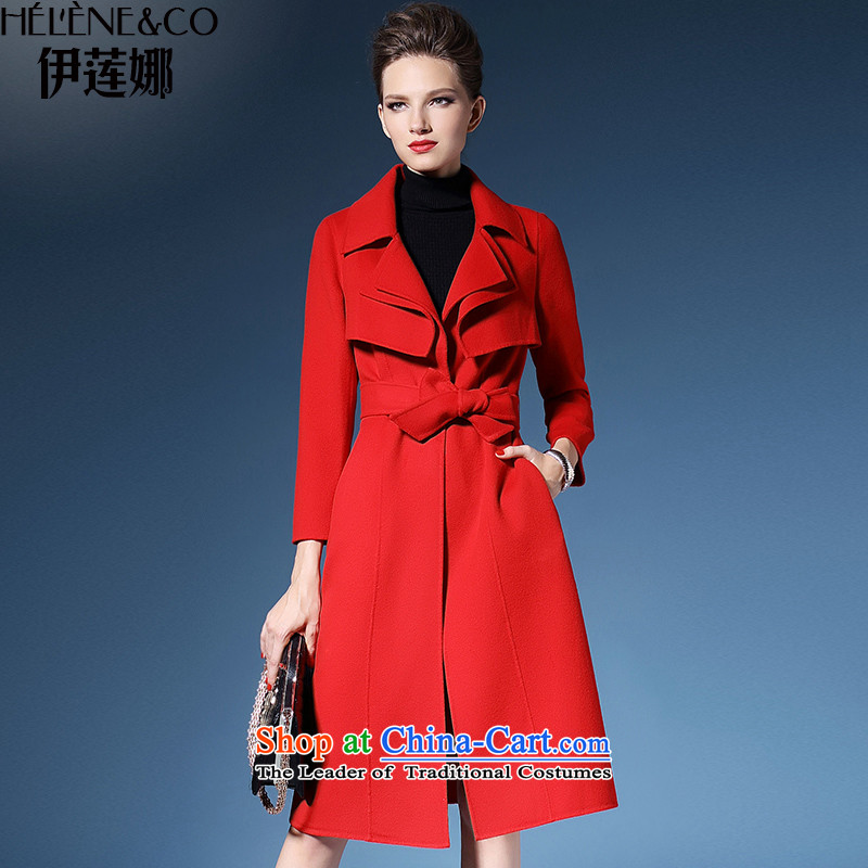 El Nina 2015 winter in Europe and the new long-plus two-sided long-sleeve sweater coat cashmere knitted red M/160 Sau San