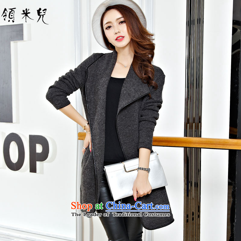 For M- 2015 to increase the number of women in the Korean version of the new autumn and winter thick mm thin in the long graphics gross? jacket leisure cardigan frock 5XL Gray
