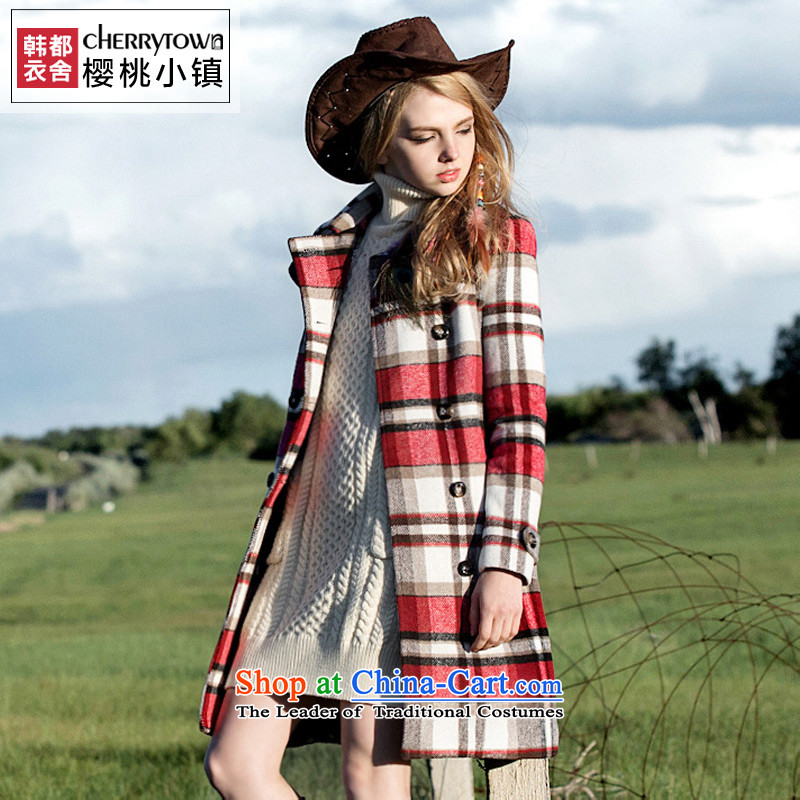 Korea has an idyllic town homes Yi Cherry Women 2015 winter clothing in new long-sleeved jacket is long hair CT0764 also red燬