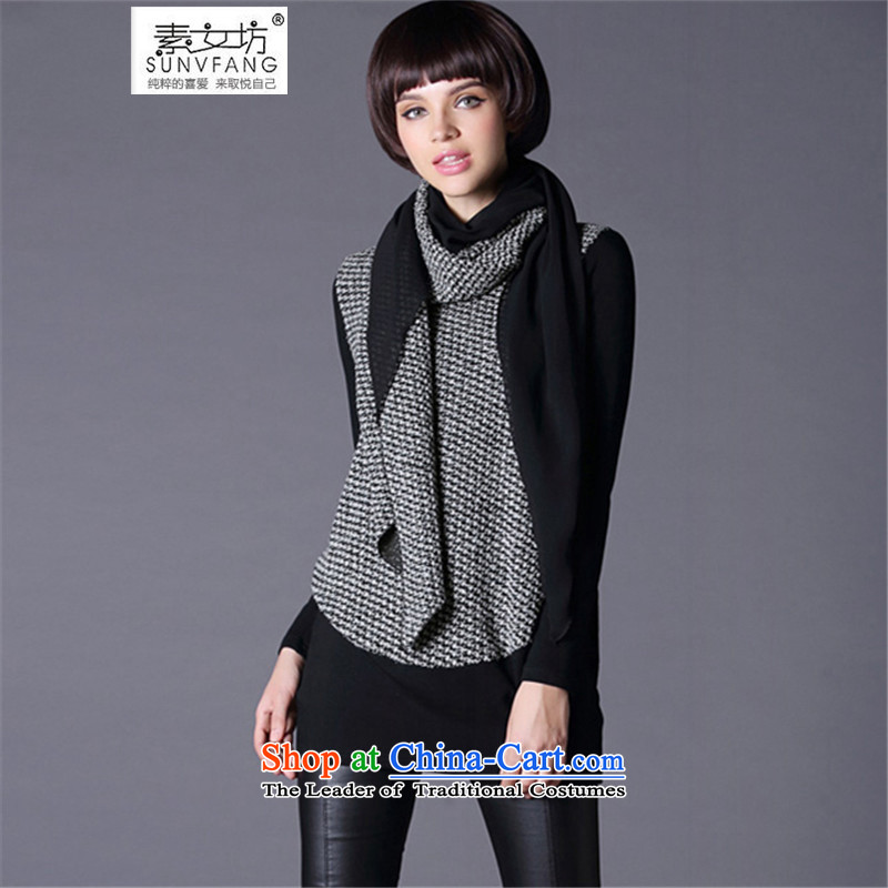 Motome workshop for larger female thick sister T-shirt 2015 Fall_Winter Collections for larger female long t-shirts, T-shirts, forming the loose end of the scarf 8102 gray 3XL addition proposed weight 140-160 characters catty