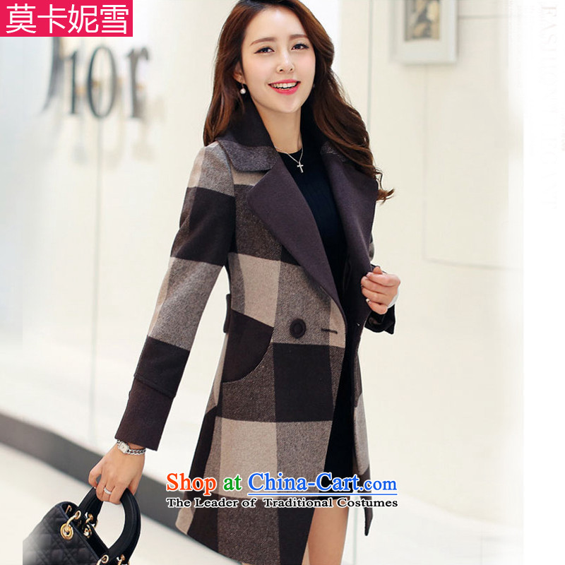 Load New autumn 2015 Korean female new a wool coat, a coffee-colored grid jacket聽XL